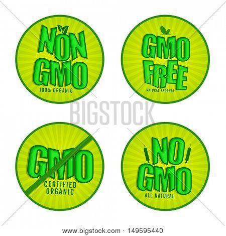 Non GMO or GMO Free Stickers set, Natural Organic Products Labels, Green Tags design, Stylish lettering collection, Creative vector illustration for Healthy Food concept.