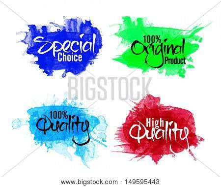 Abstract Stickers, Tags or Labels collection, Set of four different lettering design on watercolor splash, Creative vector illustration.