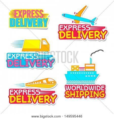 Express Delivery Stickers, Worldwide Shipping Labels, Products Delivery Tags or Badges collection with different transportation, Creative vector illustration.