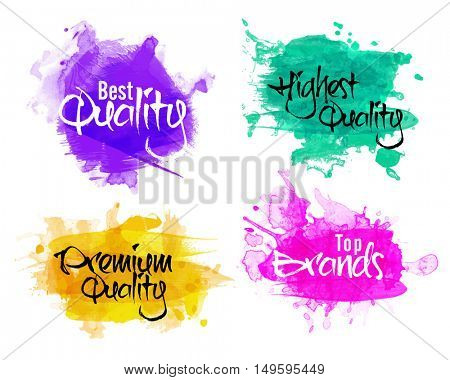Sale and Discount Labels set, Best Quality Stickers, Exclusive Quality Product Tags or Badges collection, Creative handwritten lettering design on watercolor splash, Abstract vector illustration.