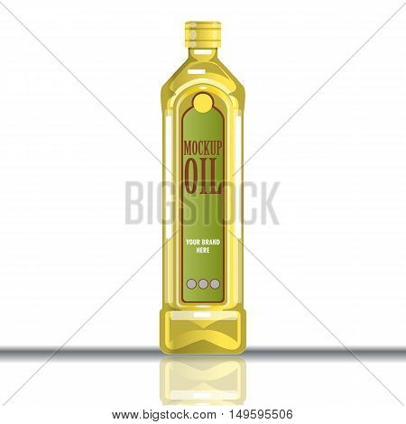 Digital vector yellow olive and sunflower oil plastic or glass bottle mockup, ready for your logo and design, flat style
