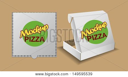 Digital vector silver recycle paper pizza delivery box mockup, ready for your logo and design, flat style