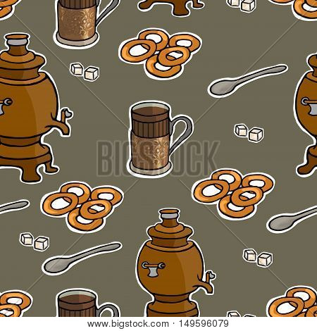 Russian tea ceremony vector seamless pattern illustration