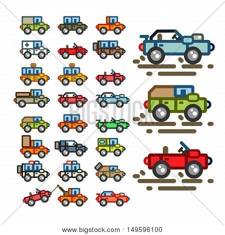 Set of different flat vehicles for creating video game