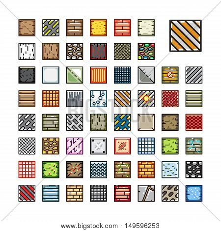 Set of top-down tiles for creating video game