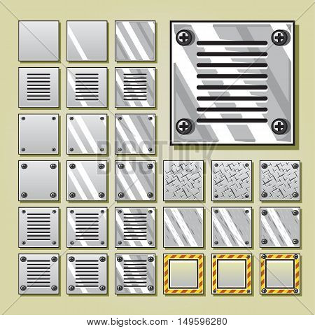 Military iron 2D tiles for creating video game
