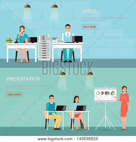 Business people talking phone and working at the computers business presentation Office workplace interior office life cartoon characters Flat design vector illustration.