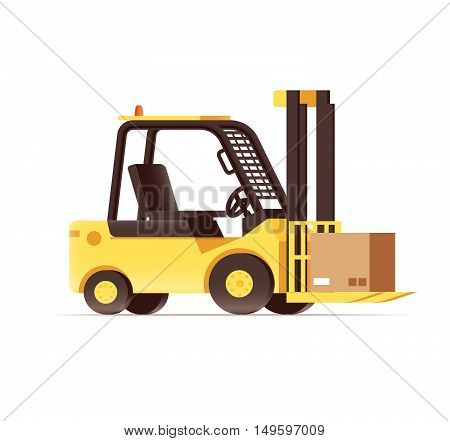 vector illustration of warehouse logistics forklift pallets yellow car isolated on white
