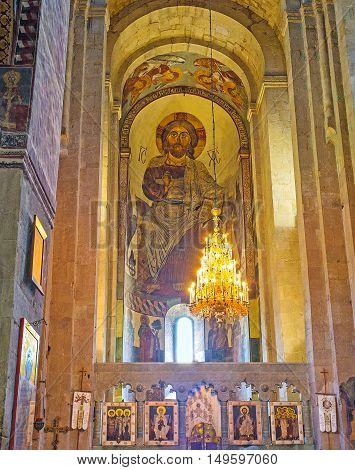 MTSKHETA GEORGIA - JUNE 6 2016: The giant fresco of Jesus Christ behind the altar of Svetitskhoveli Cathedral on June 6 in Mtskheta.