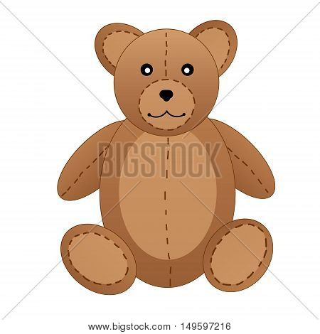 Cute teddy bear on white background vector illustration