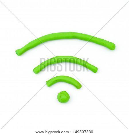 Plasticine WIFI symbol icon on isolated white background