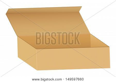 Package box. Open brown cardboard box. Vector illustration isolated on white background