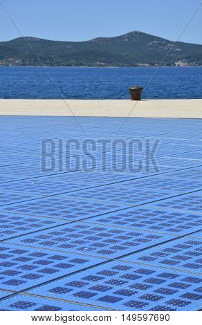 Zadar Croatia - June 18th 2016. The Monument to the Sun in Zadar Croatia a 22m circular installation representing the sun which is also a giant solar panel. Located on zadar's waterfont.