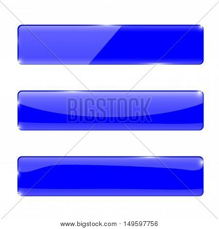 Buttons. Web icons. Blue glossy rectangular buttons. Vector illustration isolated on white background