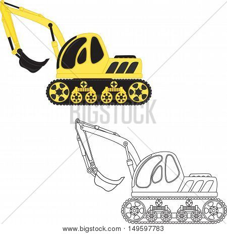 Cartoon dredge toy outlined. Vector illustration for coloring