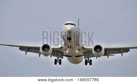 landing of a large commercial airliner in the sky