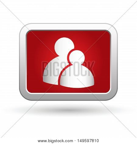 Group icon on the button. Vector illustration