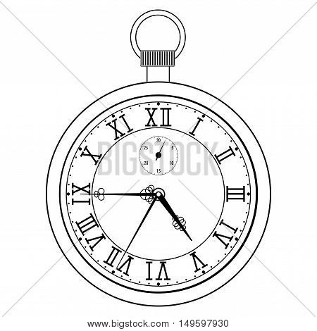 Pocket watch with roman numerals. Vector illustration isolated on white background