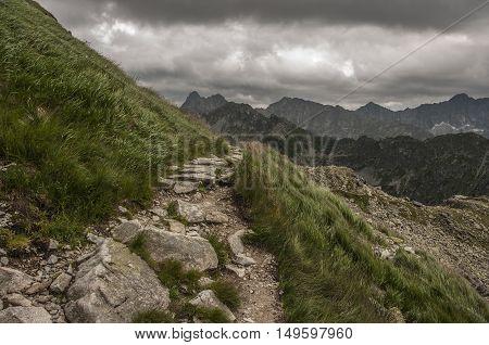 Mountain trail in the High Tatras. Poland