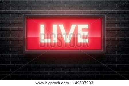 vector illustration of glowing live red sign isolated on black brick wall