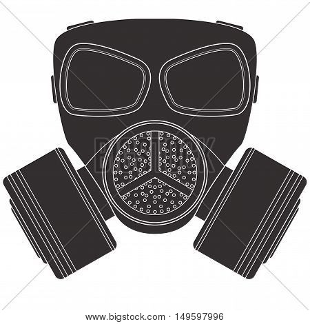 Gas mask. Drawing outline icon. Vector illustration isolated on white background