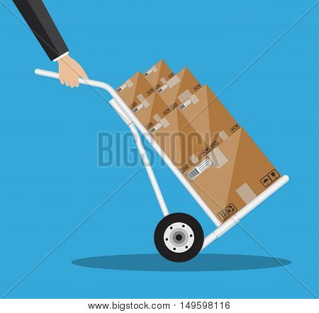 Metallic hand truck. delivery. hand truck icon. hand truck with brown boxes. illustration in flat design on blue background