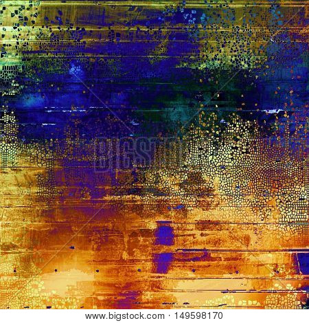 Aged vintage background with weathered texture, grunge design elements and different color patterns: yellow (beige); brown; green; blue; red (orange); purple (violet)