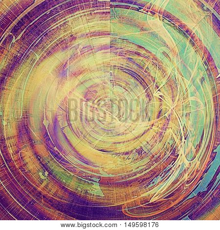 Spherical retro style graphic composition on textured grunge background. With different color patterns: yellow (beige); brown; green; blue; red (orange); purple (violet)