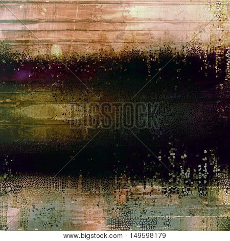 Retro background with vintage style design elements, scratched grunge texture, and different color patterns: yellow (beige); brown; gray; green; purple (violet); black