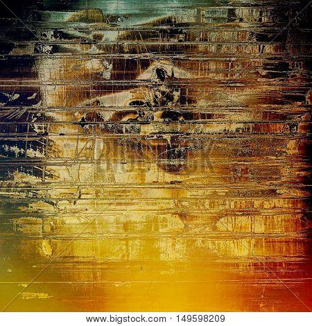 Vintage decorative background, antique grunge texture with different color patterns: yellow (beige); brown; blue; red (orange); black