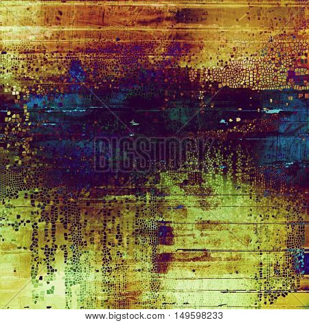 Damaged retro texture with grunge style elements and different color patterns: yellow (beige); brown; green; blue; red (orange); purple (violet)