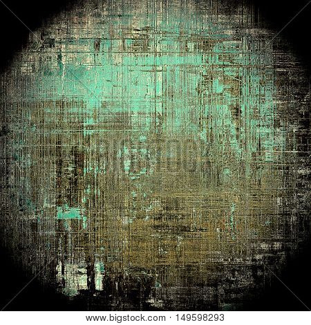 Spherical vintage colorful textured background. Backdrop in grunge style with antique design elements and different color patterns: yellow (beige); brown; gray; blue; black; cyan