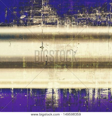 Retro style abstract background, aged graphic texture with different color patterns: yellow (beige); brown; gray; blue; purple (violet)