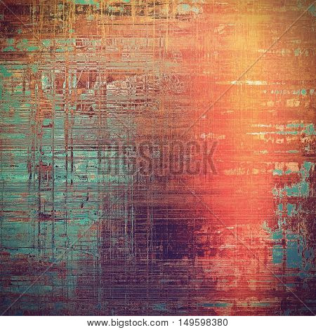 Creative grunge background in vintage style. Faded shabby texture with different color patterns: yellow (beige); brown; blue; red (orange); purple (violet); pink