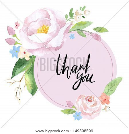 Vintage floral greeting card. Thank you watercolor illustration on white.
