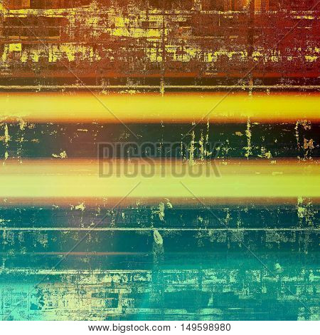 Vintage decorative background, antique grunge texture with different color patterns: yellow (beige); brown; blue; red (orange); cyan