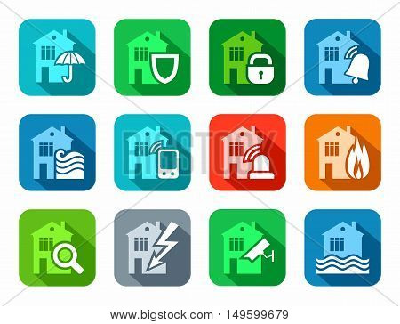 Security of housing and office buildings, icons, colored, flat. Safety of living and working space. Vector colored icons with shadow.