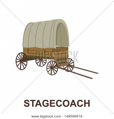 Cowboy wagon icon cartoon. Singe western icon from the wild west collection.