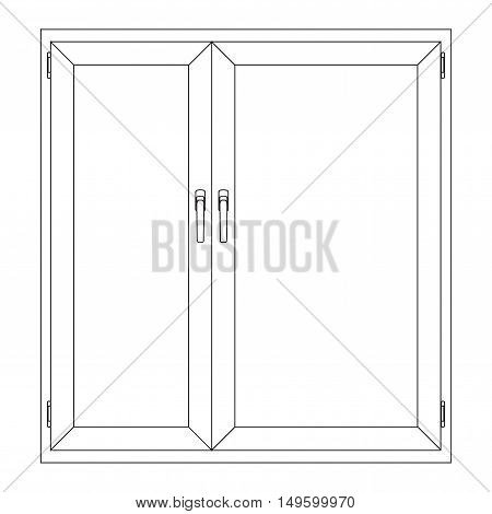 Window. Closed.  Outline drawing. Vector illustration isolated
