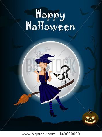 Halloween background of Witch on the full moon. Vector. young happy and attractive witches vector Halloween collection