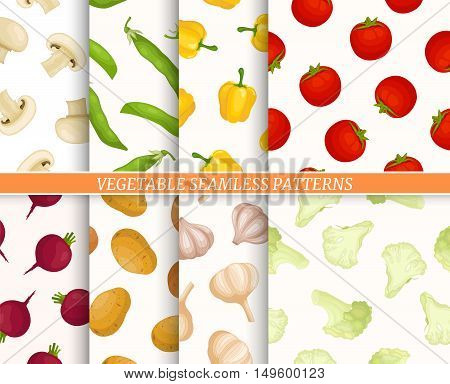 Vegetables seamless patterns collection. Set of backgrounds with tomatoes cauliflower pepper peas beets garlic potatoes mushrooms for fabric wallpaper. Thanksgiving Day wrapping textile