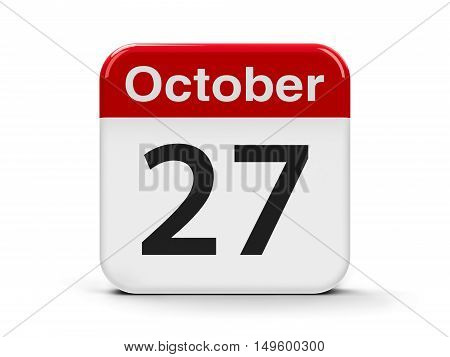 Calendar web button - The Twenty Seventh of October - World Day for Audiovisual Heritage three-dimensional rendering 3D illustration