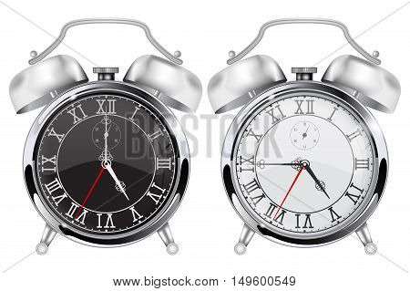 Alarm clock. Black and white realistic chrome clock. Vector illustration isolated on white background