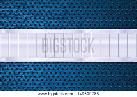 Blue perforated background with steel plate. Vector illustration