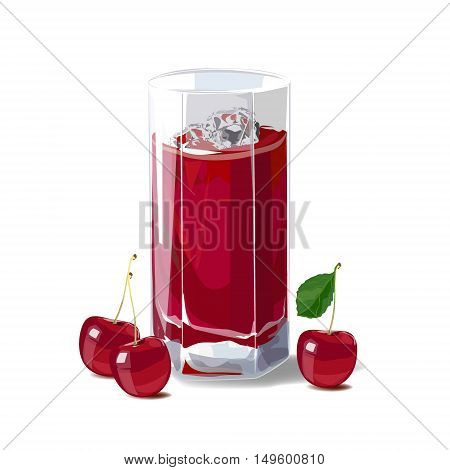 Cherry juice. A glass of cherry juice and ice and cherries. Vector