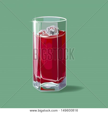 Cherry juice. A glass of cherry juice and ice. Vector
