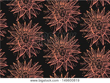 Hand draw seamless line pattern in warm gradient color with magic sun tribal african masks on black background vector illustration.Alchemy religion spirituality occultism textiles art.