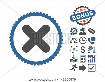 Cancel pictograph with bonus pictograph collection. Glyph illustration style is flat iconic bicolor symbols, cobalt and gray colors, white background.