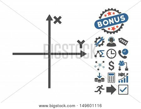 Cartesian Axes pictograph with bonus images. Glyph illustration style is flat iconic bicolor symbols, cobalt and gray colors, white background.