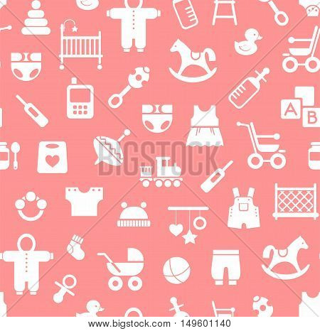 Products for children, background, seamless, pink. Vector colored background with clothes, toys and personal items for newborns and young children. White icons on a pink background.